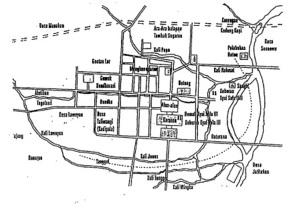 Peta rekonstruksi Kota Solo sekitar tahun 1900 (Tesis Eko Adhy Setiawan)